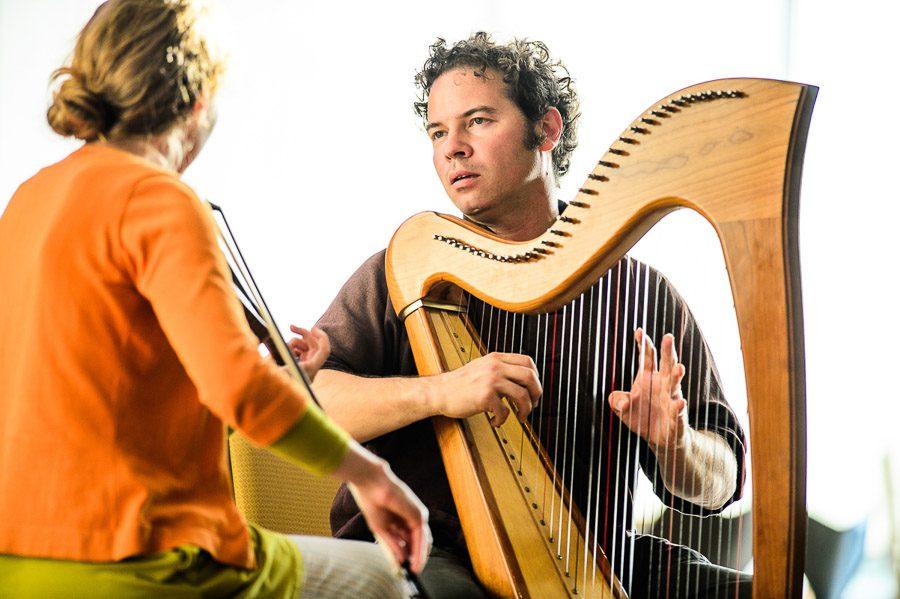 Ceri Owen-Jones (harpist) performing at MusicFest Aberystwyth 2014